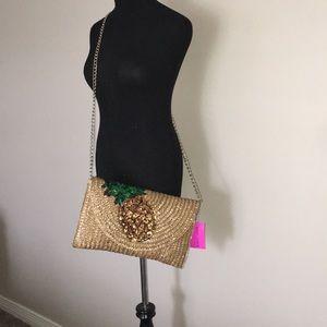 Betsy Johnson Pine Straw Sequin Clutch Crossbody